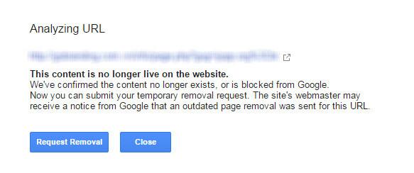 xóa URL khỏi bảng tìm kiếm Google