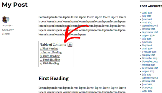 Các tạo mục lục trong bài viết và trang WordPress