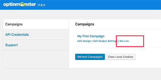 Turn on campaign on your website