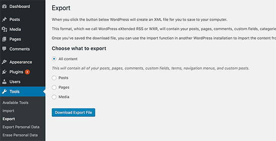 Xuất nội dung trong WordPress