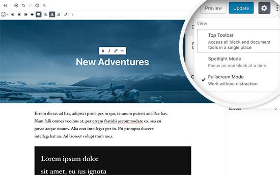 Chế độ toàn màn hình trong trình chỉnh sửa WordPress mới