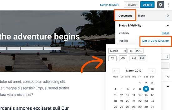 Thay đổi ngày xuất bản cho một bài đăng trên blog