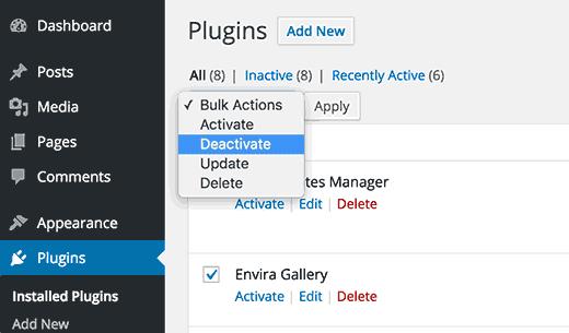 Vô hiệu hóa tất cả các plugin trong WordPress