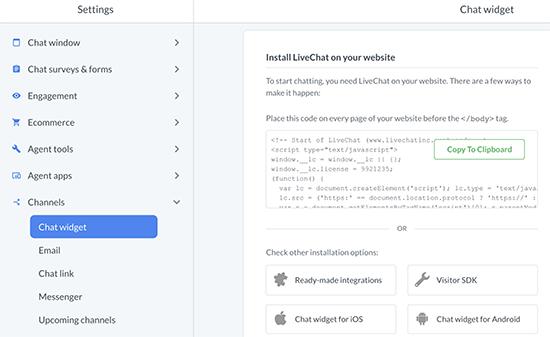 Thêm LiveChat vào các trang web khác