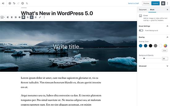 Trình chỉnh sửa dựa trên khối mới trong WordPress 5.0