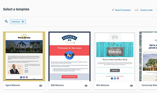 Select welcome email template