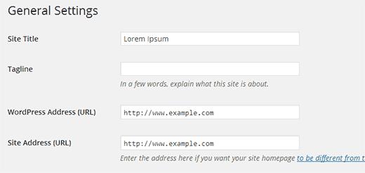 WordPress and Site Address settings