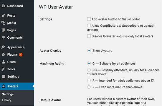 Cài đặt Avatar của người dùng WP