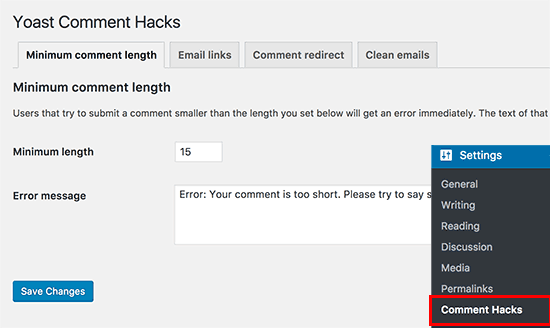 Yoast Comment Hacks settings page
