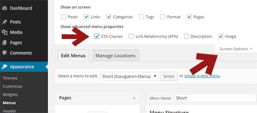 Bật tùy chọn lớp CSS cho Menu điều hướng