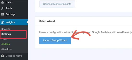 Launch set up wizard