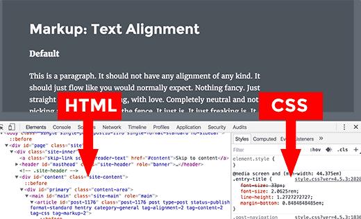 Các bảng HTML và CSS trong công cụ Kiểm tra