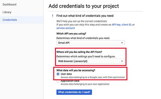 Thông tin xác thực API bước 1