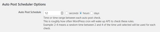 Tùy chọn thời gian tự động lên lịch trình đăng bài