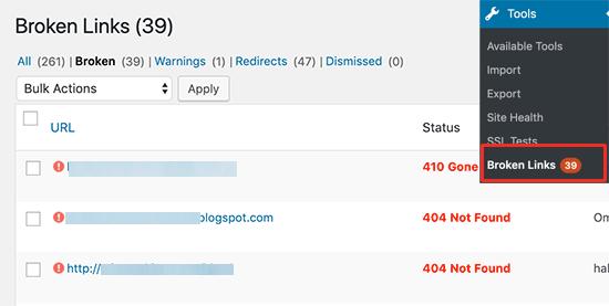 Báo cáo liên kết bị hỏng trong WordPress
