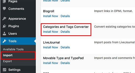 Cài đặt danh mục và chuyển đổi thẻ trong WordPress