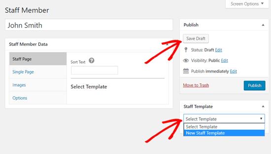 Chọn mẫu cho nhân viên mới trong WordPress