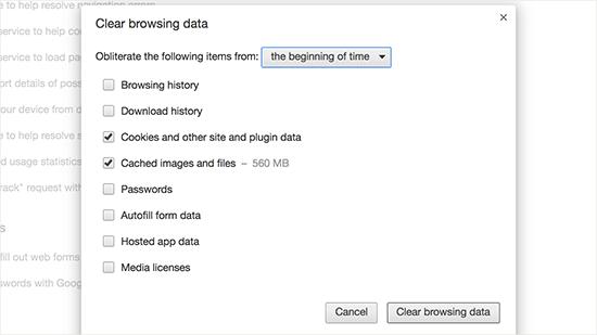 Xóa dữ liệu duyệt web trong Google Chrome