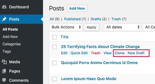 Hình nón hoặc phác thảo một bài đăng WordPress
