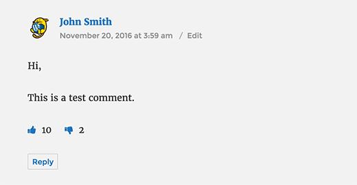 Bình luận WordPress với các nút like không thích
