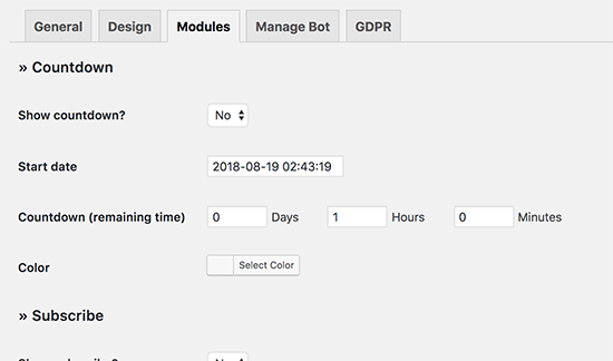 Adding a countdown timer