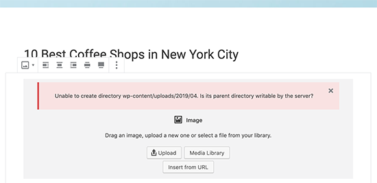 Unable to create directory error