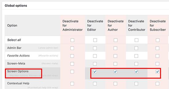 Deactivate screen options button