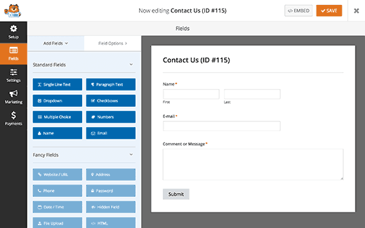 Editing contact form fields
