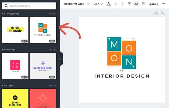 Chọn một mẫu logo và chỉnh sửa nó trong Canva