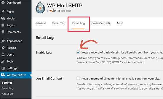 Bật nhật ký email