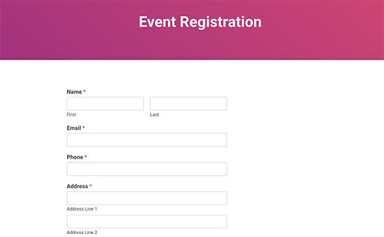 Xem trước mẫu đăng ký sự kiện