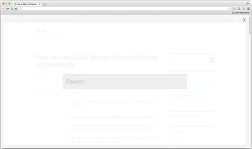Lớp phủ tìm kiếm toàn màn hình trên trang web WordPress