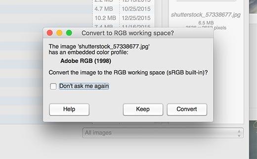 GIMP phát hiện và đề xuất thay đổi không gian màu