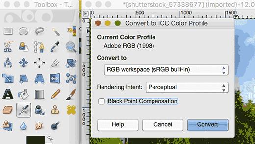 Chuyển đổi cấu hình màu trong GIMP