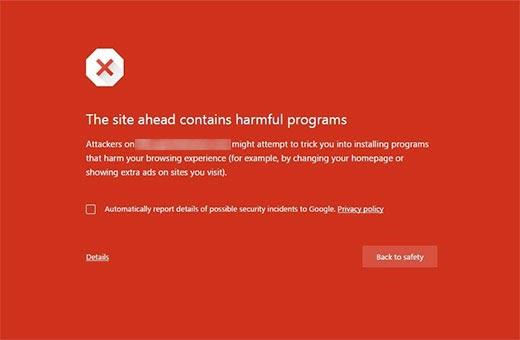 Trang web này chứa lỗi chương trình có hại trong Google Chrome