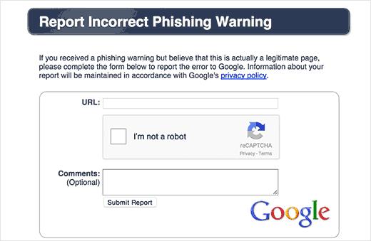 Báo cáo cảnh báo lừa đảo không chính xác