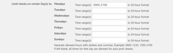 Kiểm tra giới hạn vào một số ngày nhất định để lên lịch bài viết