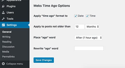 Cài đặt plugin Meks Time Ago