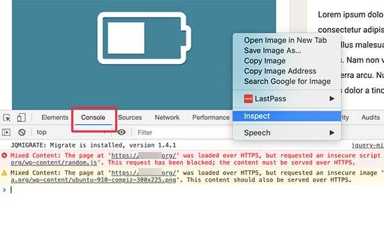 Công cụ bảng điều khiển trong chế độ xem Kiểm tra hiển thị lỗi và cảnh báo nội dung hỗn hợp
