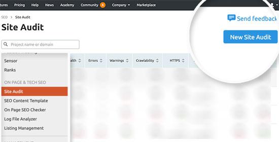 Thêm kiểm toán trang web mới trong SEMRush