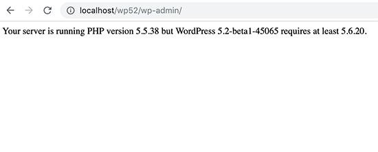 PHP version notice in WordPress 5.2 beta