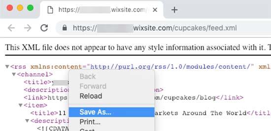 Lưu nguồn cấp dữ liệu RSS Wix
