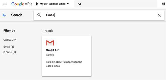 Chọn API Gmail
