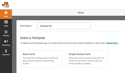Setting up new contact form
