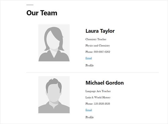 Nhân viên trang Danh sách thành viên Demo trong WordPress
