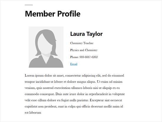 Nhân viên hồ sơ Trang đơn trong WordPress