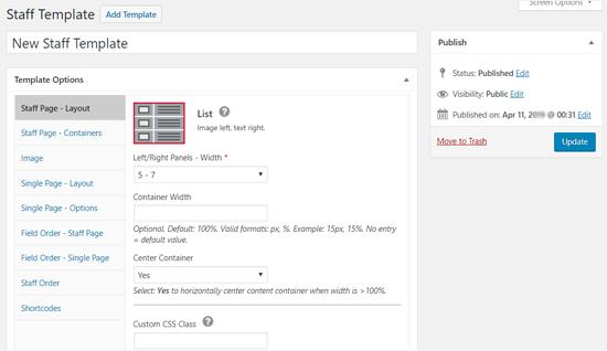 Tùy chọn mẫu - Danh sách nhân viên Plugin WordPress