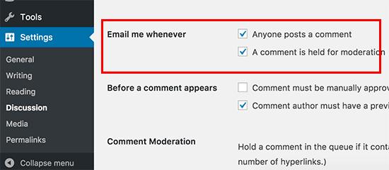 Tắt email thông báo nhận xét