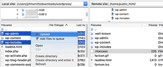 Upload fresh WordPress files