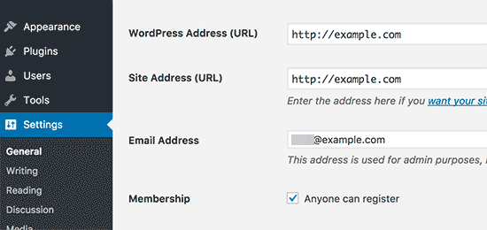 Địa chỉ trang web WordPress